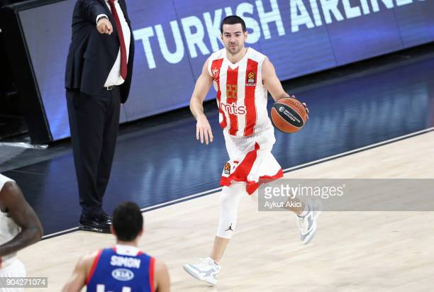 Taylor Rochestie #22 of Crvena Zvezda mts Belgrade in action during the 2017/2018 Turkish Airlines EuroLeague Regular Season Round 17 game between...