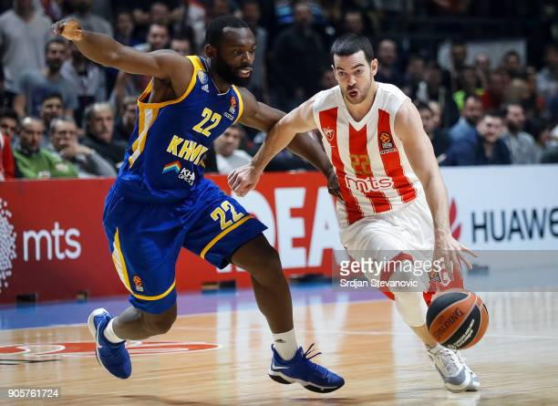 Taylor Rochestie of Crvena Zvezda in action against Charles Jenkins of Khimki during the 2017/2018 Turkish Airlines EuroLeague Regular Season Round...