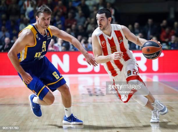 Taylor Rochestie of Crvena Zvezda in action against Egor Vialtsev of Khimki during the 2017/2018 Turkish Airlines EuroLeague Regular Season Round 18...