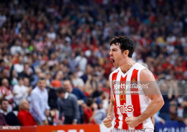 Taylor Rochestie of Crvena Zvezda reacts during the 2017/2018 Turkish Airlines EuroLeague Regular Season game between Crvena Zvezda mts Belgrade and...