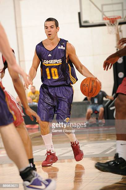 Taylor Rochestie of the Los Angeles Lakers looks to drive against the Cleveland Cavaliers during NBA Summer League presented by EA Sports on July 11...