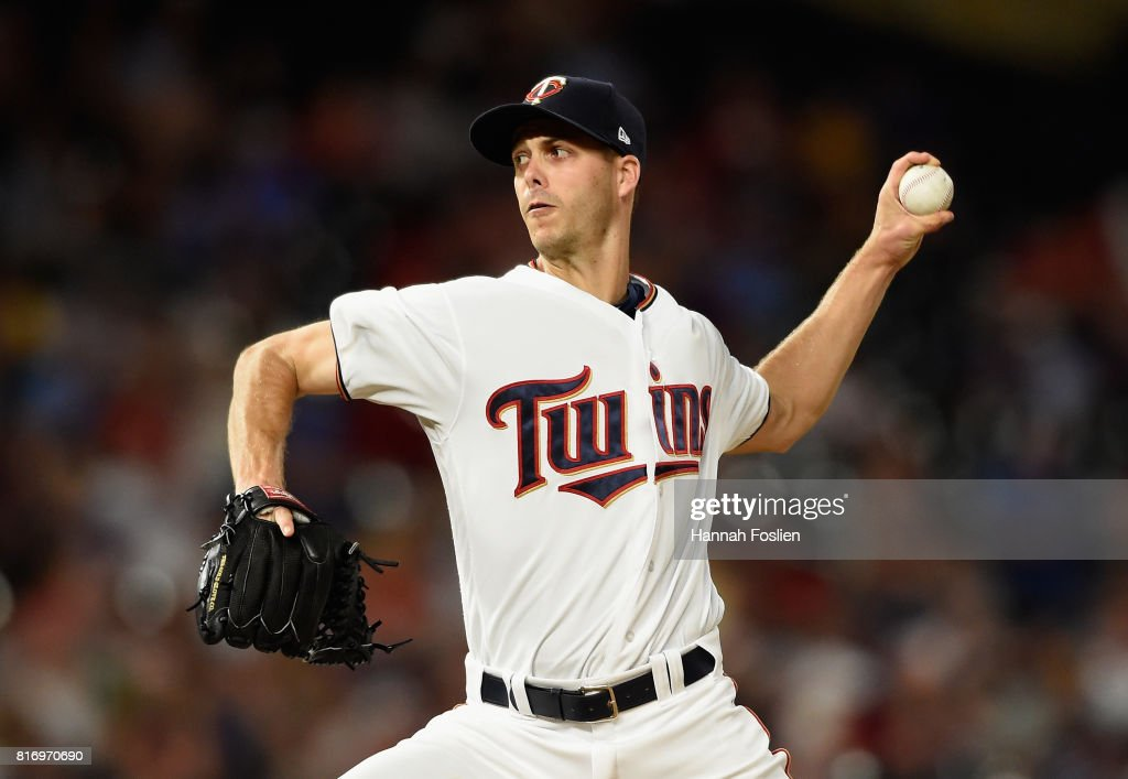 Taylor Rogers #55 of the Minnesota Twins delivers a pitch against the New York Yankees during the eighth inning of the game on July 17, 2017 at Target Field in Minneapolis, Minnesota. The Twins defeated the Yankees 4-2.