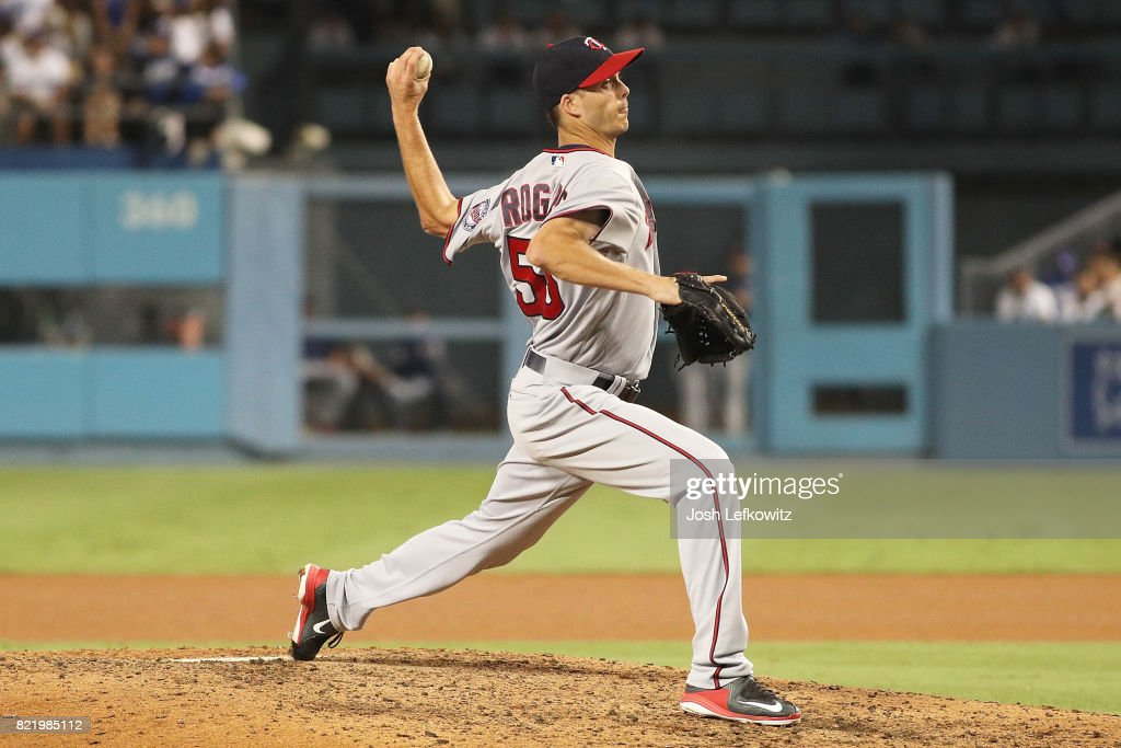 Taylor Rogers #55 of the Minnesota Twins pitches during the game between the Los Angeles Dodgers and Minnesota Twins at Dodger Stadium on July 24, 2017 in Los Angeles, California.