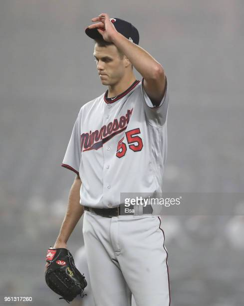 Taylor Rogers of the Minnesota Twins reacts after he loaded up the bases in the eighth inning against the New York Yankees at Yankee Stadium on April...