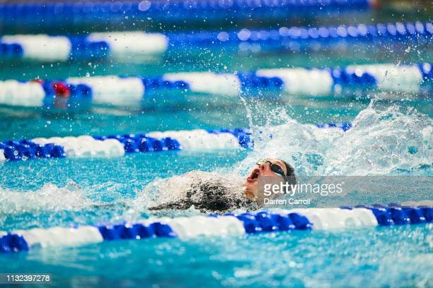 Taylor Ruck of Stanford swims in the 200 Yard Backstroke during the Division I Women's Swimming & Diving Championship held at the Lee & Joe Jamail...