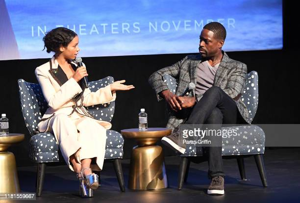 Taylor Russell and Sterling K Brown onstage during the Waves Atlanta red carpet premiere at SCADShow on October 16 2019 in Atlanta Georgia