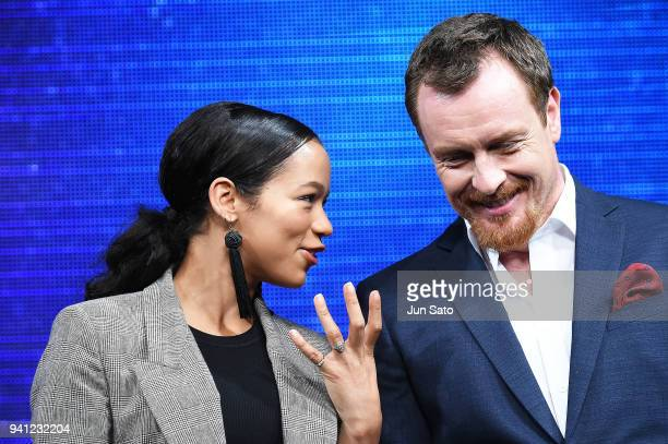 Taylor Russell and Toby Stephens attend the 'Lost In Space' premier event at Omotesando Hills on April 3 2018 in Tokyo Japan