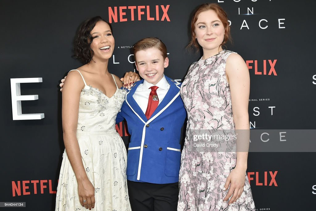 Taylor Russell, Maxwell Jenkins and Mina Sundwall attend the 'Lost In Space' Season 1 Premiere at ArcLight Cinerama Dome on April 9, 2018 in Hollywood, California.