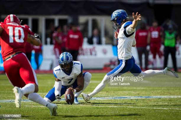 Taylor Russolino of the St. Louis Battlehawks kicks a field goal against the DC Defenders during the first half of the XFL game at Audi Field on...