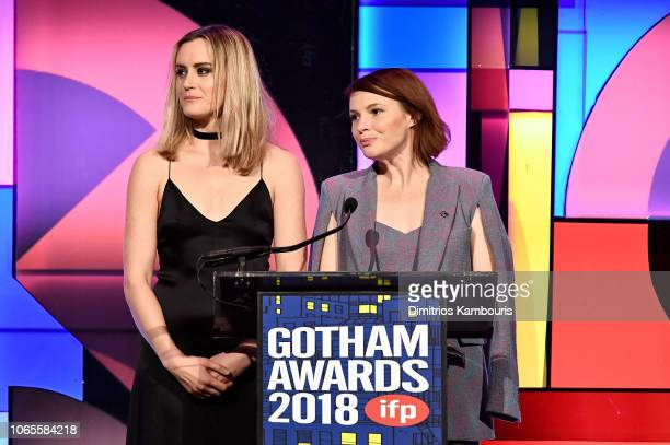 Taylor Schilling and Amy Seimetz speak onstage during IFP's 28th Annual Gotham Independent Film Awards at Cipriani Wall Street on November 26 2018 in...
