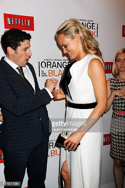 Taylor Schilling and Jason Biggs attend Orange Is The New Black premiere at The New York Botanical Garden on June 25 2013 in New York City