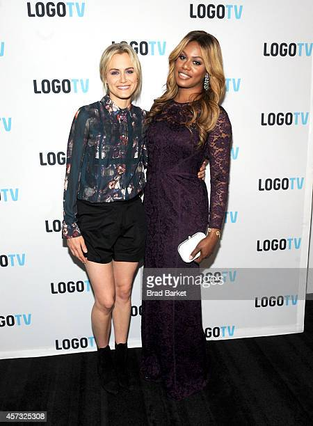 Taylor Schilling and Laverne Cox attend 'Laverne Cox Presents The T Word' Logo TV Premiere Party Screening at Paramount Screening Room at the Viacom...