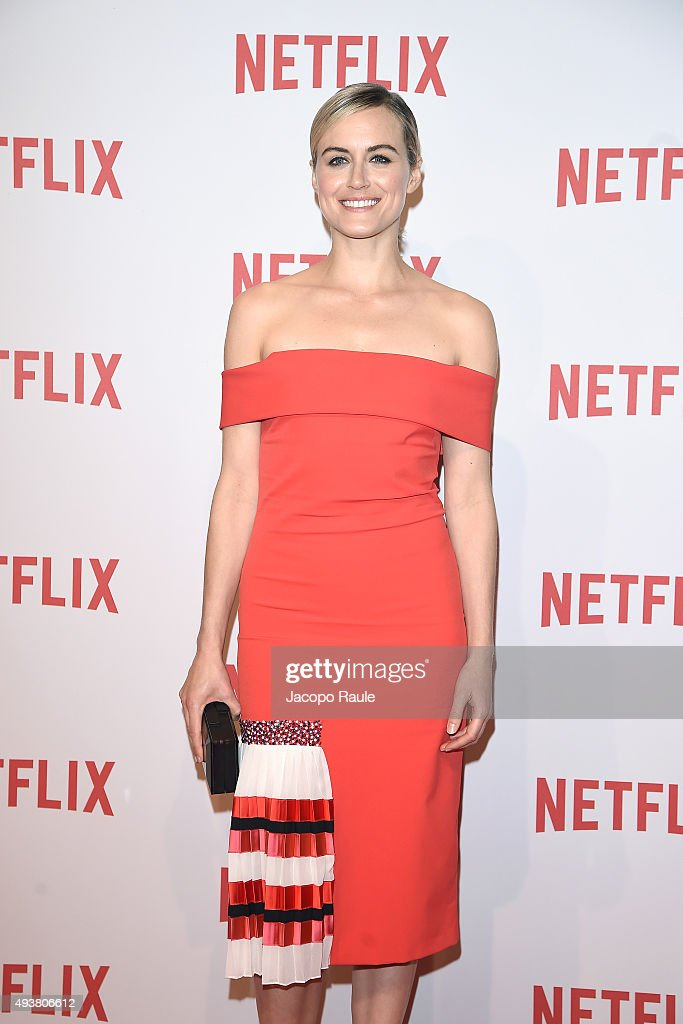 Taylor Schilling attends a red carpet for the Netflix launch at Palazzo Del Ghiaccio on October 22, 2015 in Milan, Italy.