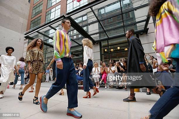 Taylor Schilling Greta Lee Rashida Jones Morgan Saylor and Leandra Medine attend Rachel Comey presentation during New York Fashion Week on September...