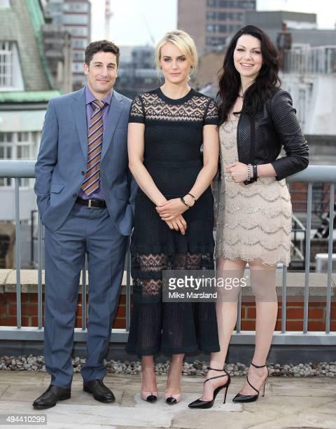 Taylor Schilling Jason Biggs and Laura Prepon attend a photocall to launch season 2 of Netflix exclusive series Orange Is The New Black on May 29...