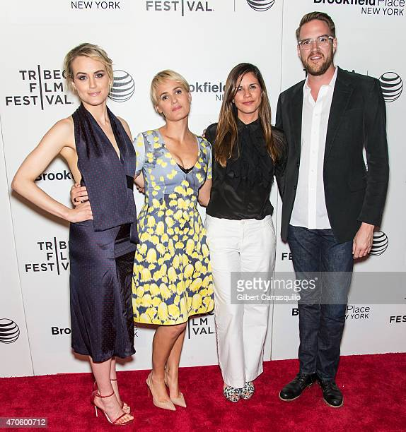 Taylor Schilling, Judith Godreche, Naomi Scott and Patrick Brice attend the premiere of 'The Overnight' during the 2015 Tribeca Film Festival at BMCC...