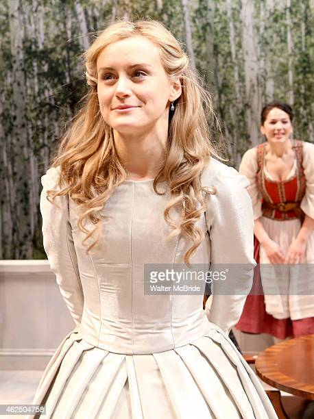 Taylor Schilling onstage during the OffBroadway opening night curtain call 'A Month in the Country' at the Classic Stage Company Theatre on January...