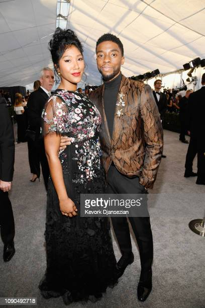 Taylor Simone Ledward and Chadwick Boseman attends the 25th Annual Screen Actors Guild Awards at The Shrine Auditorium on January 27, 2019 in Los...