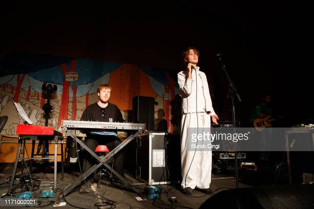 Taylor Skye and Georgia Ellery of Jockstrap perform on stage during End Of The Road Festival 2019 at Larmer Tree Gardens on August 29 2019 in...