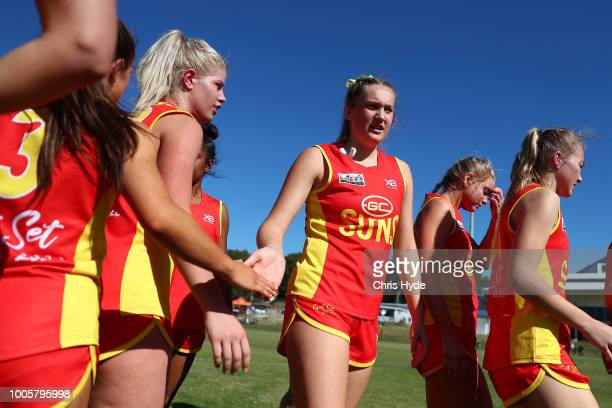 Taylor Smith of the Suns warms up before the round two AFLW Winter Series match between the Gold Coast Suns and the Southern Giants at Southport on...