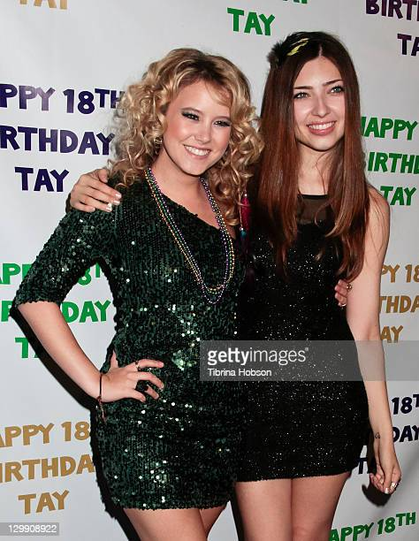 Taylor Spreitler and Shelby Young attend Spreitler's 18th birthday party at Crimson on October 21 2011 in Hollywood California
