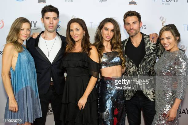 Taylor Stanley Kristos Andrews Jade Harlow Celeste Fianna Erik Fellows and Terri Ivens attend The Bay The Series PreEmmy Red Carpet Celebration at...