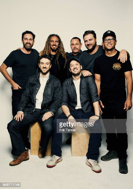 Taylor Steele Michael Zimablist Rob Machado Jeff Zimablist Taylor Knox Benji Weatherly and Shane Dorian of the film Momentum Generation poses for a...
