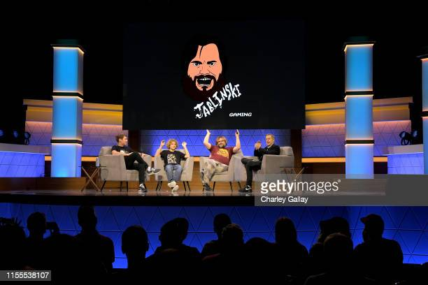 Taylor Stephens Sammy Black Jack Black and Geoff Keighley speak onstage at the Jablinski Games Live panel during E3 2019 at the Novo Theatre on June...