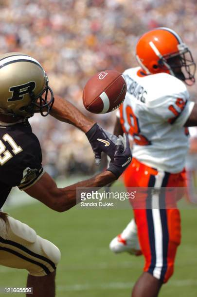 Taylor Stubblefield of Purdue catches a pass for a touchdown in the fourth quarter of the 51-0 defeat of Syracuse at Ross-Ade Stadium in West...