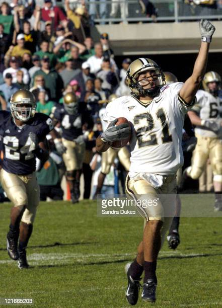 Taylor Stubblefield races toward the end zone for a 93 yard TD in the third quarter of Purdue's 41-16 win over Notre Dame in Notre Dame Stadium,...