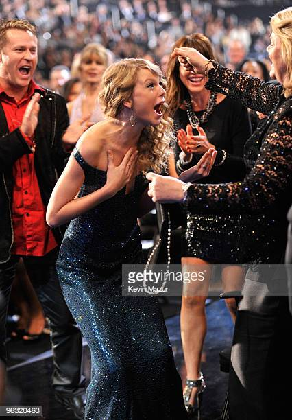 Taylor Swift accepts award at the 52nd Annual GRAMMY Awards held at Staples Center on January 31, 2010 in Los Angeles, California.