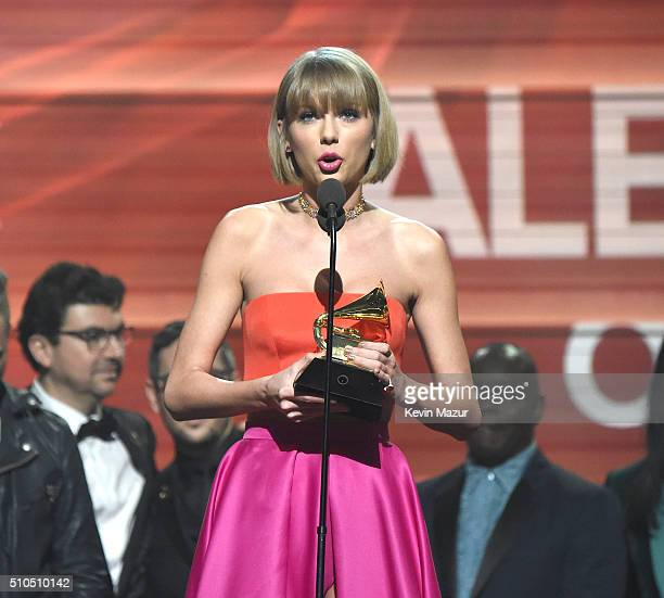 Taylor Swift accepts award onstage during The 58th GRAMMY Awards at Staples Center on February 15 2016 in Los Angeles California