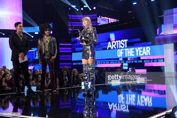 Taylor Swift accepts the award for Artist of the Year onstage during the 2018 American Music Awards at Microsoft Theater on October 9 2018 in Los...