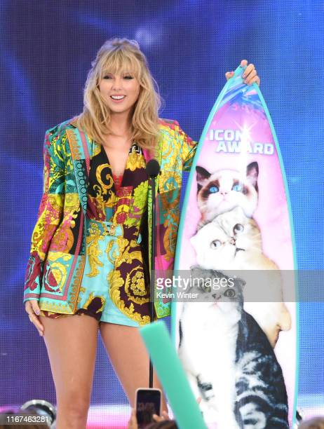 Taylor Swift accepts the Teen Choice Icon Award onstage during FOX's Teen Choice Awards 2019 on August 11, 2019 in Hermosa Beach, California.