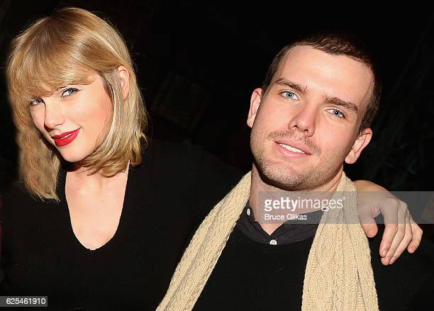 Taylor Swift and brother Austin Swift poses backstage with the cast at the hit musical Kinky Boots on Broadway at The Al Hirschfeld Theater on...