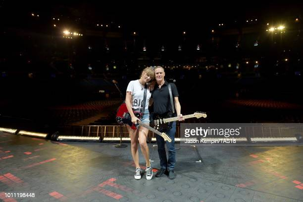 Taylor Swift and Bryan Adams rehearse onstage during the Taylor Swift reputation Stadium Tour at Rogers Centre on August 4 2018 in Toronto Canada