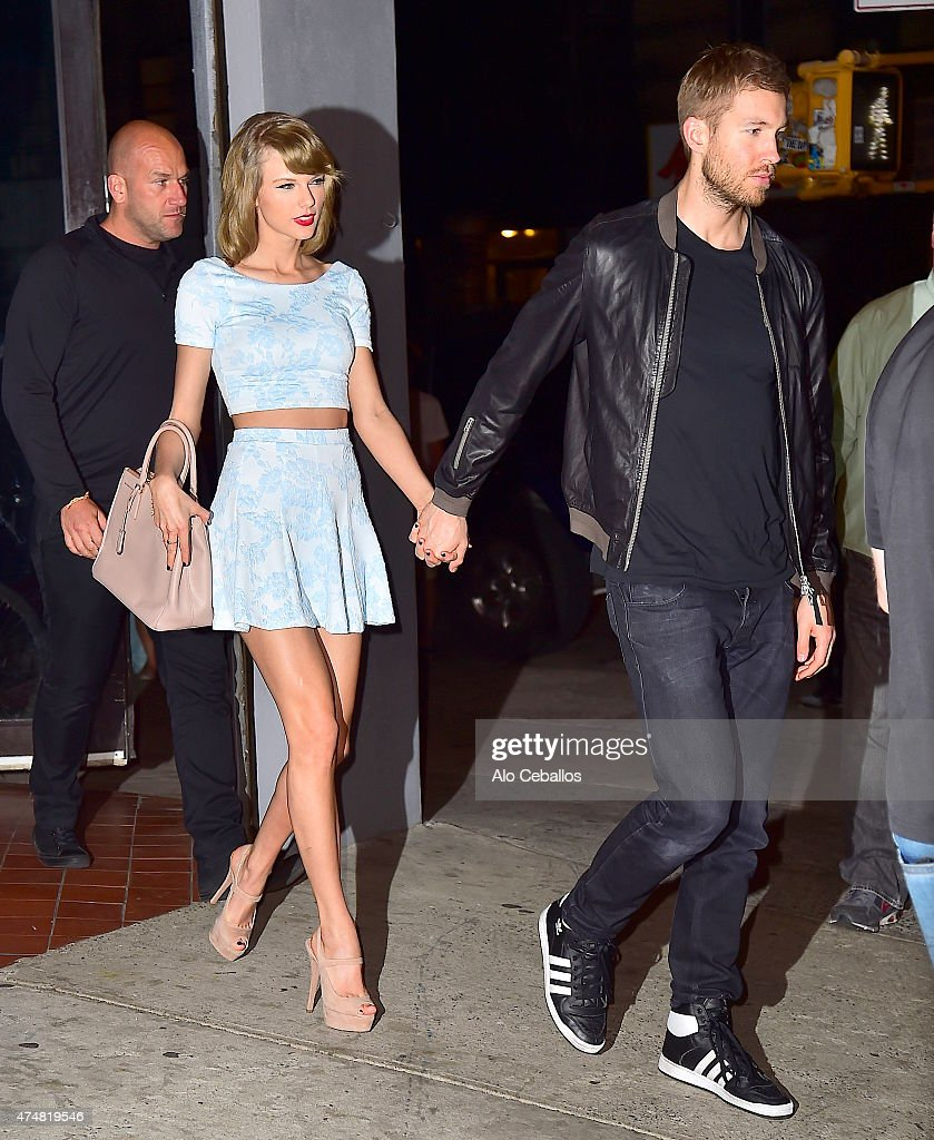 Taylor Swift and Calvin Harris are seen in Soho on May 26, 2015 in New York City.