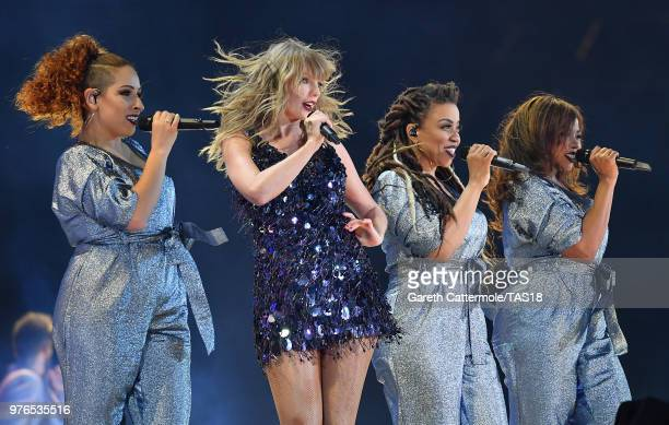 Taylor Swift and dancers perform on stage during her reputation Stadium Tour at Croke Park on June 16 2018 in Dublin Ireland
