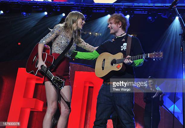 Taylor Swift and Ed Sheeran perform onstage during Z100's Jingle Ball 2012 presented by Aeropostale at Madison Square Garden on December 7 2012 in...