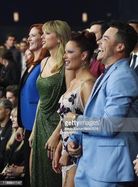 Taylor Swift and Halsey attend the 2019 American Music Awards at Microsoft Theater on November 24 2019 in Los Angeles California