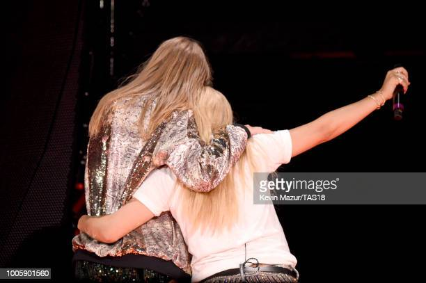 Taylor Swift and Hayley Kiyoko perform onstage during the Taylor Swift reputation Stadium Tour at Gillette Stadium on July 26 2018 in Foxborough...