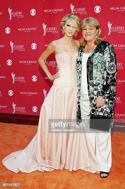 Taylor Swift and her mom Andrea during 42nd Academy of Country Music Awards Red Carpet at The MGM Grand Hotel and Casino Resort in Las Vegas Nevada