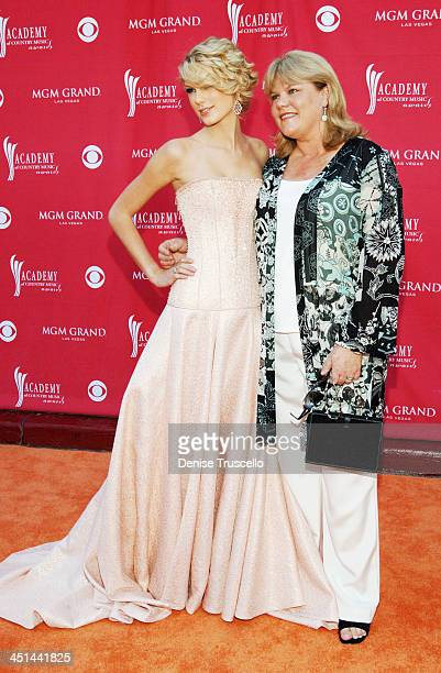 Taylor Swift and her mom Andrea Swift during 42nd Academy of Country Music Awards Red Carpet at The MGM Grand Hotel and Casino Resort in Las Vegas...
