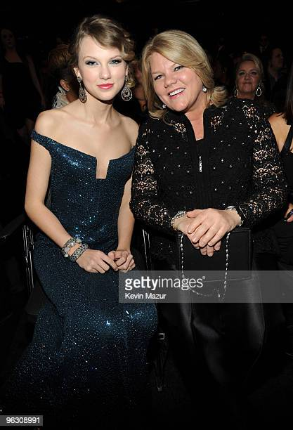 Taylor Swift and her mother attends the 52nd Annual GRAMMY Awards held at Staples Center on January 31 2010 in Los Angeles California