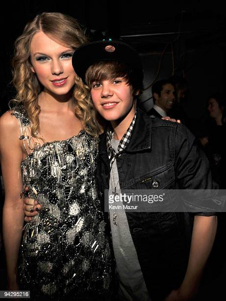 NEW YORK DECEMBER 11 *EXCLUSIVE* Taylor Swift and Justin Bieber attend Z100's Jingle Ball 2009 presented by HM at Madison Square Garden on December...