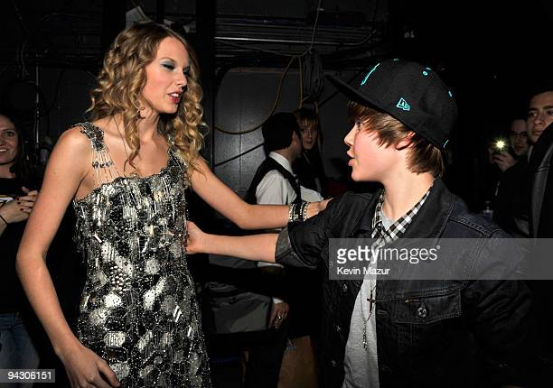 NEW YORK DECEMBER 11 *EXCLUSIVE* Taylor Swift and Justin Bieber attends Z100's Jingle Ball 2009 presented by HM at Madison Square Garden on December...