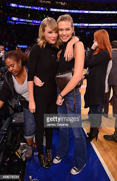 Taylor Swift and Karlie Kloss attend the Chicago Bulls vs New York Knicks game at Madison Square Garden on October 29 2014 in New York City