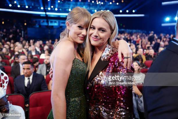 Taylor Swift and Kelsea Ballerini attend the 2019 American Music Awards at Microsoft Theater on November 24 2019 in Los Angeles California