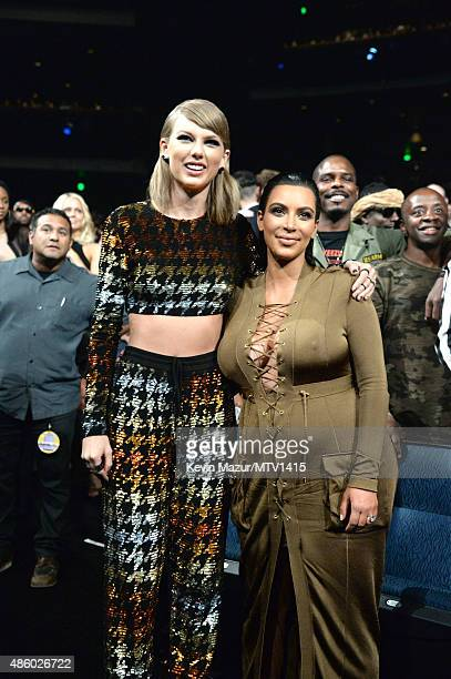 Taylor Swift and Kim Kardashian West attend the 2015 MTV Video Music Awards at Microsoft Theater on August 30 2015 in Los Angeles California