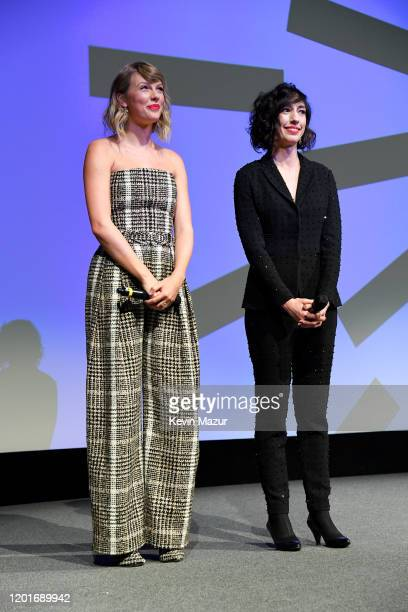 Taylor Swift and Lana Wilson speak onstage during the Netflix premiere of Miss Americana at Sundance Film Festival on January 23 2020 in Park City...